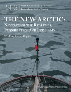 A ship breaks through the Arctic ice. The New Arctic: Navigating the Realities, Possibilities, and Problems