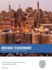 Grievance to Governance Image on building backdrop