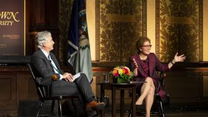 Ambassador Marie Yovanovitch with Ambassador William J. Burns on stage in Gaston Hall at Georgetown University