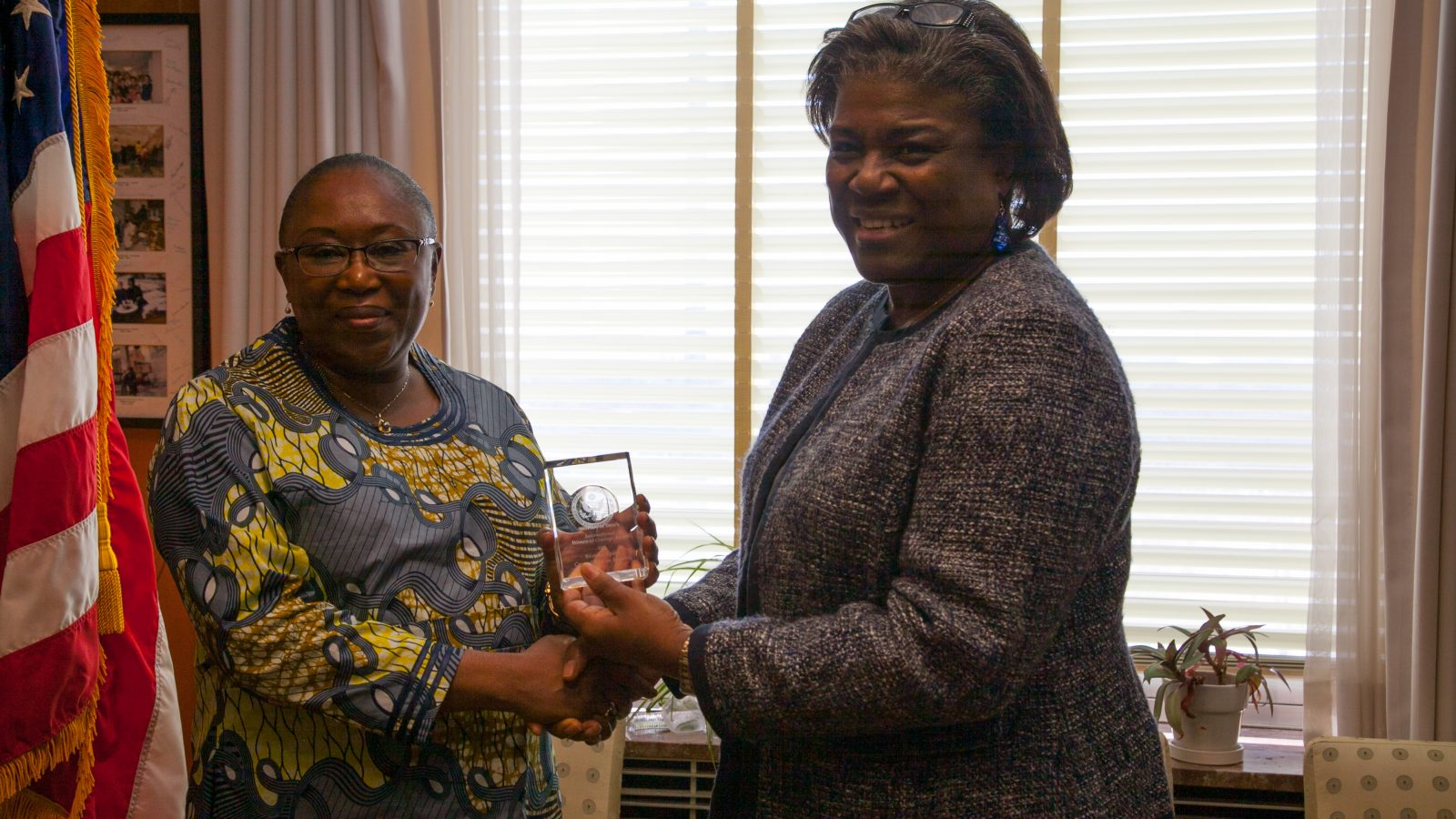 Assistant Secretary Linda Thomas-Greenfield who leads the Department of State's Bureau of African Affairs, gives International Women of Courage Award to Beatrice Epaye President, Fondation Voix du Coeur from Central African Republic
