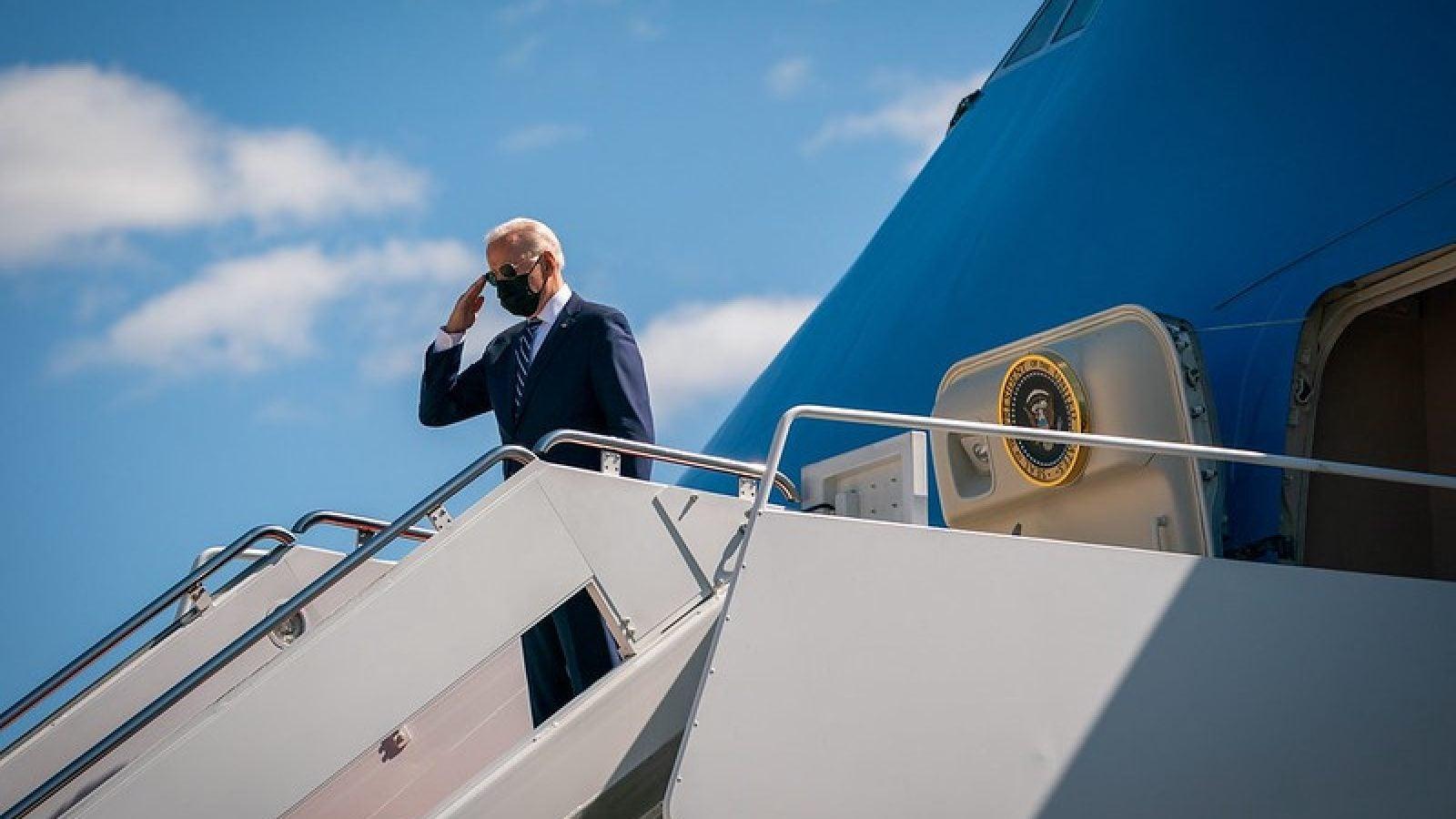 President Joe Biden disembarks Air Force One. (Image: White House/Adam Schultz/Flickr)