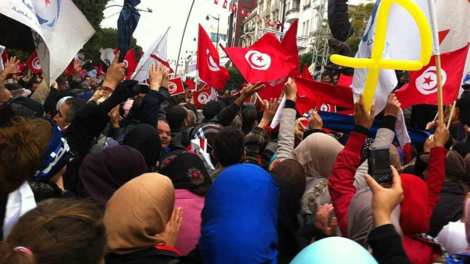 Protesters in Tunisia, 2014